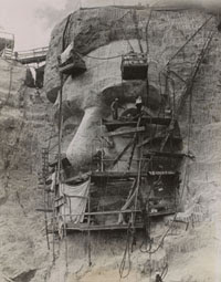 Acme Photography Bureau. Carving Lincoln on Rushmore Granite  1937,  Alan Lloyd Paris Collection,  (Non-Morgan)